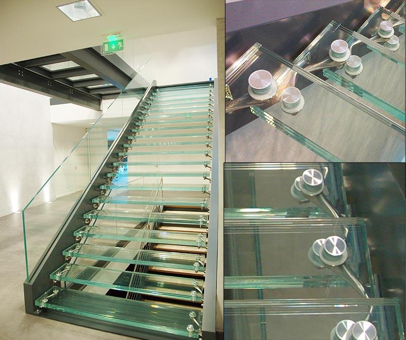 fixation pour dalle de sol et escalier en verre