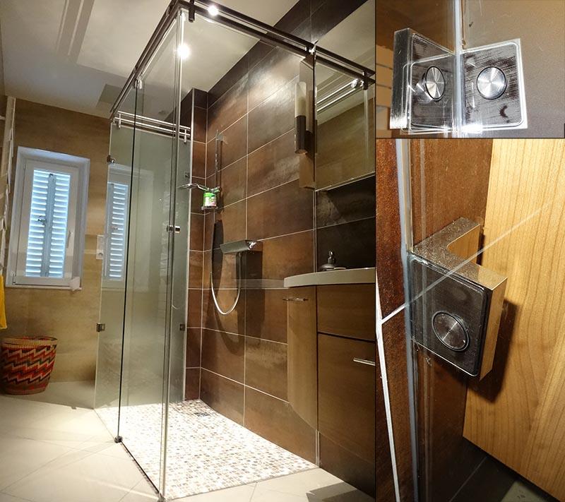 fixation pour pare douche en verre