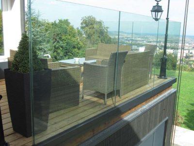 verre feuilleté de sécurité pour garde-corps vitré
