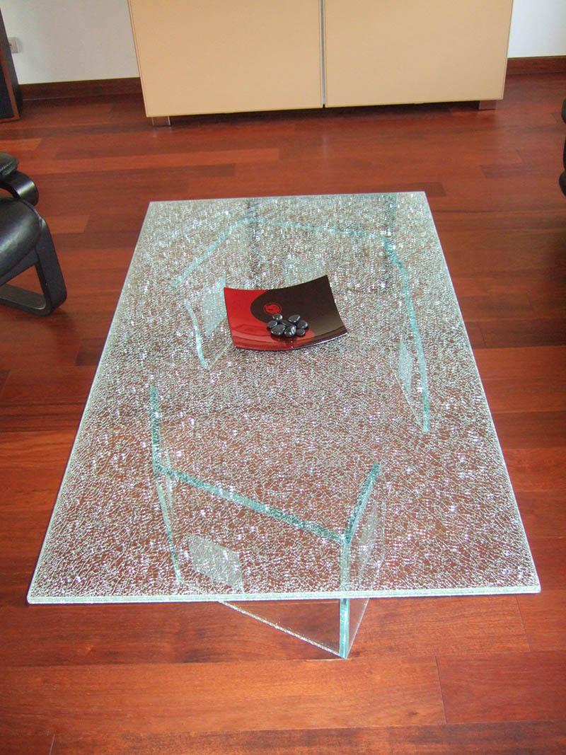 table basse en verre décoratif, table basse en verre feuilleté décoratif