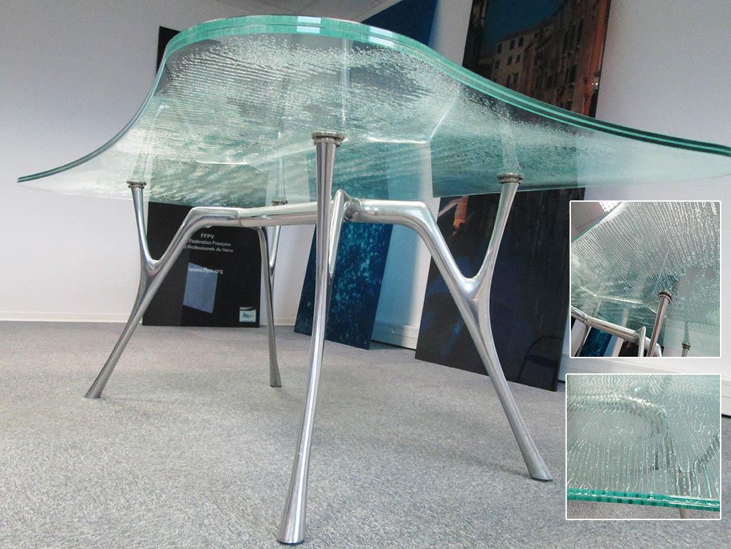 Plateau Table En Verre Feuillete Decoratif