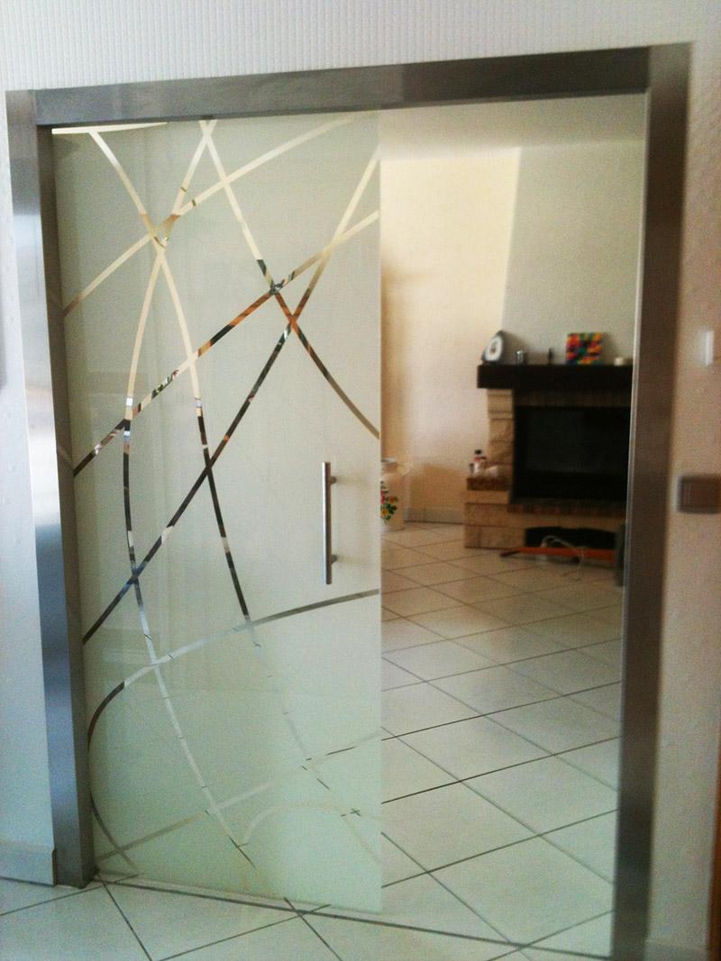 Porte coulissante en verre feuillet - Porte coulissante en verre sur mesure ...