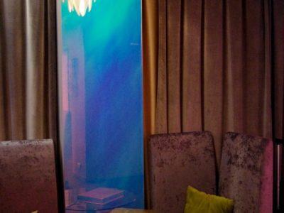 cloison en verre feuilleté décoratif, vitrage feuilleté décoratif