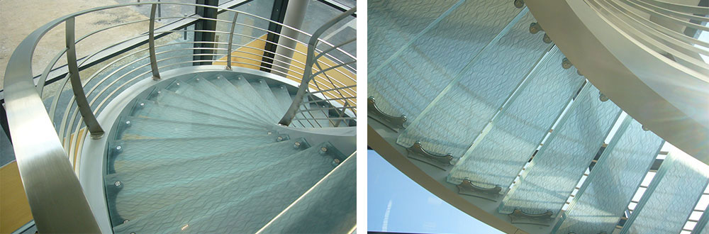 escalier en verre décoratif, marche en verre