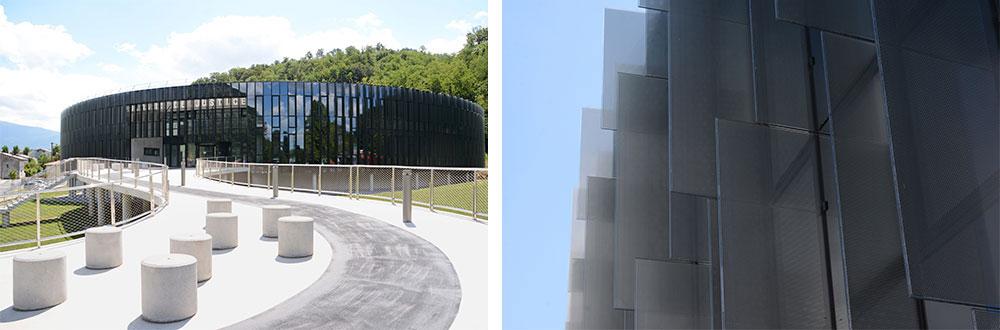 façade en verre feuilleté avec insertion