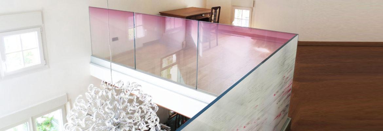 garde corps en verre feuilleté décoratif avec insertion