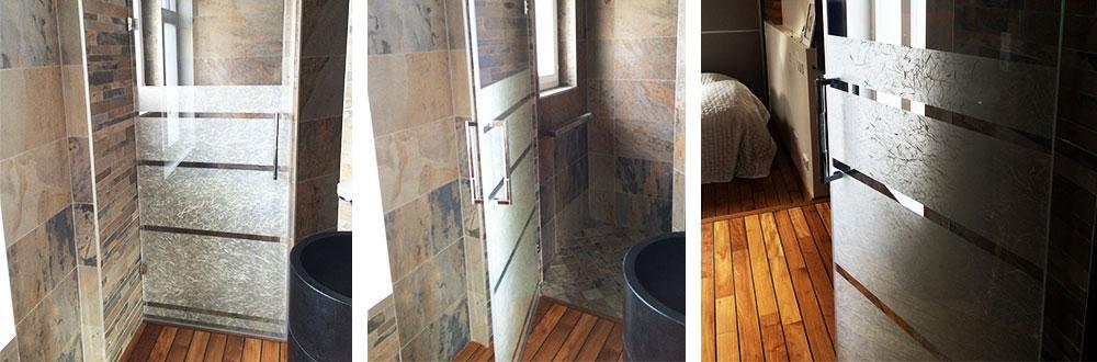 porte de douche avec insertion décor
