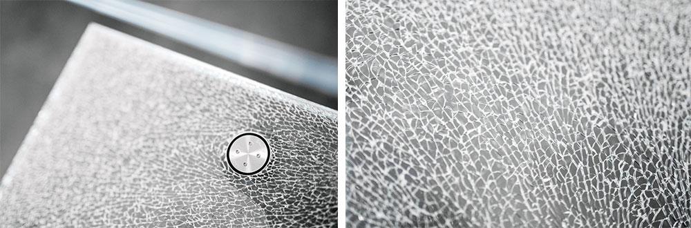 verre feuilleté avec verre brisé