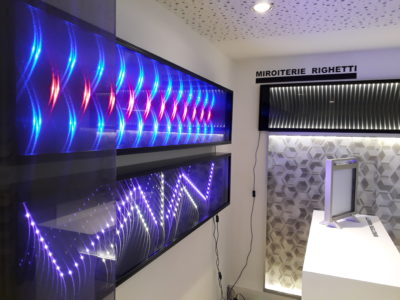 verre feuilleté décoratif avec incorporation de leds avec effets 3d
