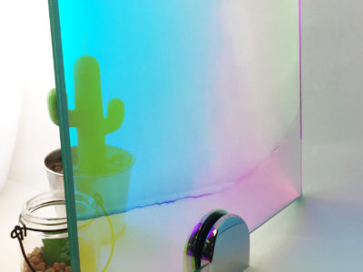 verre feuillet decoratif dichroic bleu
