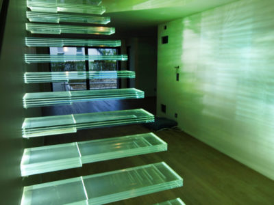 escalier verre insertion leds