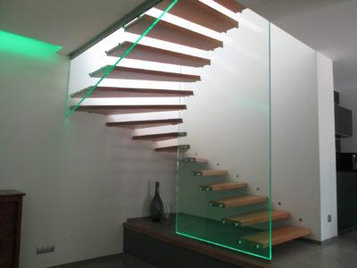 garde corps en verre escalier leds