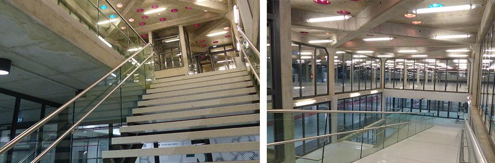 rampant d'escalier en verre pour lieu public
