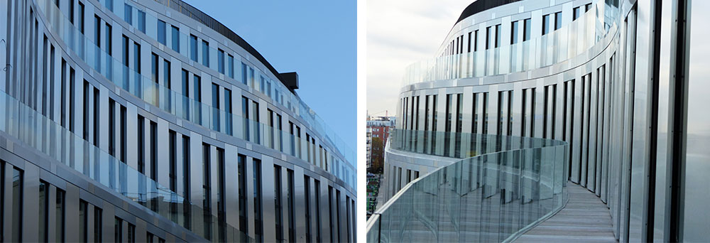 garde-corps en verre pour immeuble de bureaux