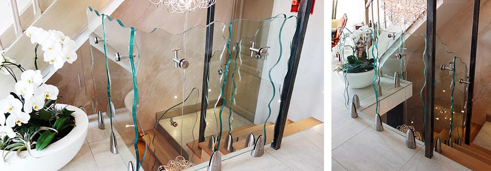 garde-corps en verre pour intérieur forme spéciale