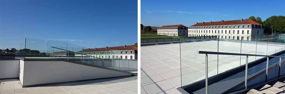 rambarde en verre sur mesure pour espace public
