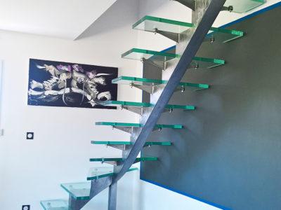 marche escalier verre transparent