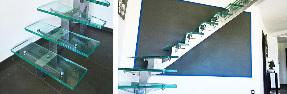 escalier en verre tri feuilleté trempé