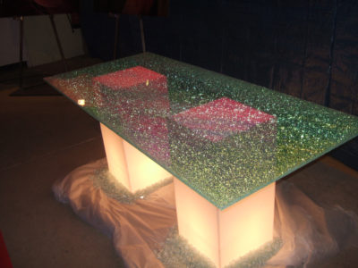 plateau de table en verre