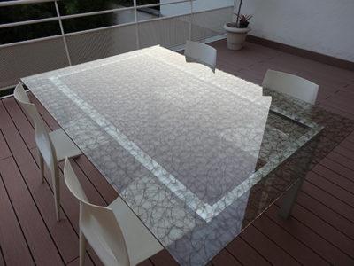 plateau en verre feuillete decoratif