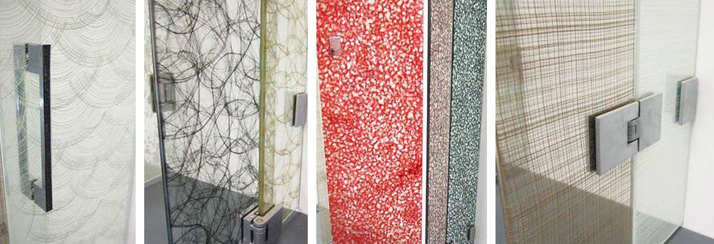 cloisons en verre feuilleté décoration insertion tissus