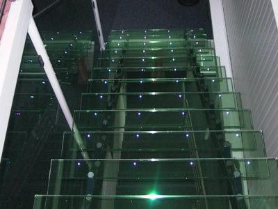 escalier en verre insertion leds