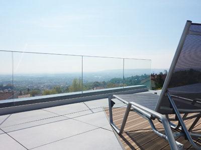 Garde corps tout verre pour terrasse
