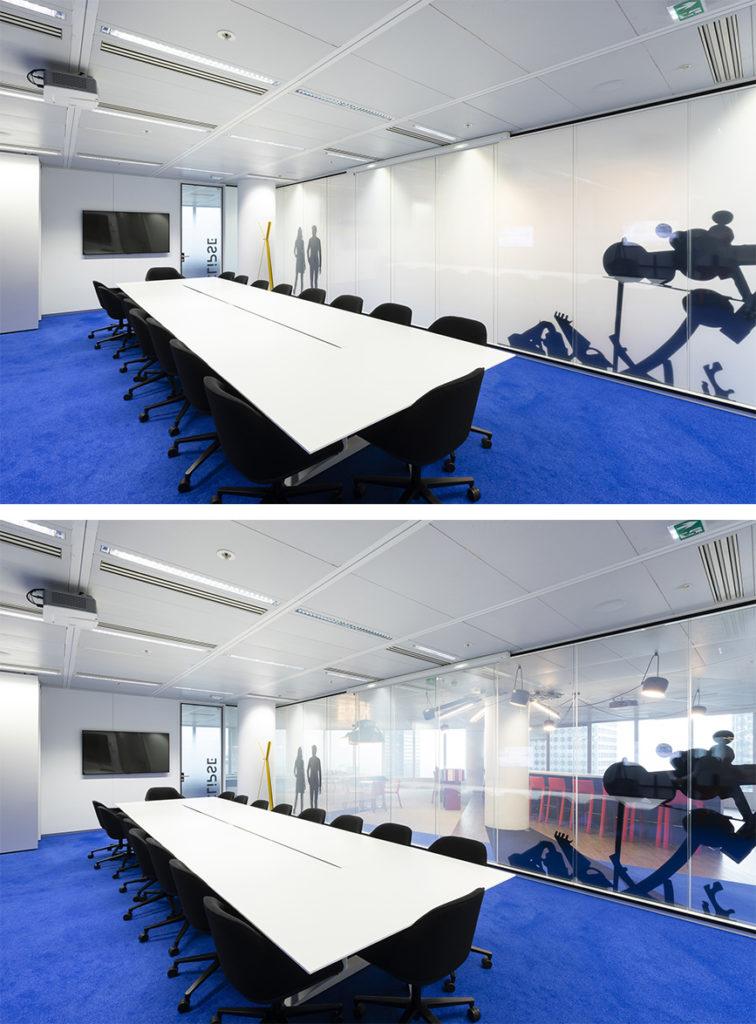 Vitrage à opacité contrôlable pour salle de réunion
