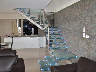 escalier vitre incorporation leds