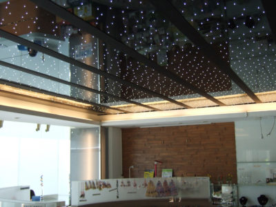 plafond en verre led