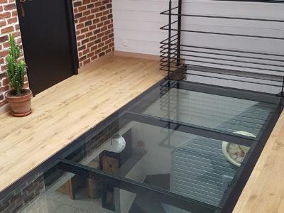 plancher en verre dalle de verre