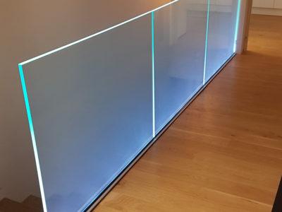 Rambarde en verre avec LED