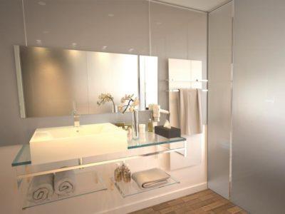 Crédence salle de bain en verre