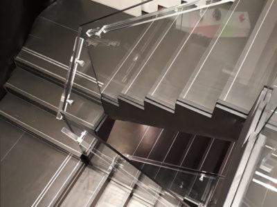 Rampe escalier tout verre