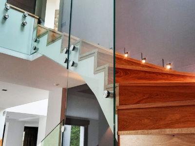 Rampe d'escalier en verre fixée par points